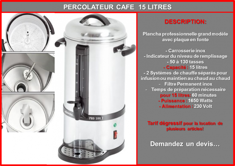 Location percolateur cafe